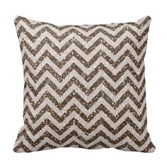 Sparkles & Glitter chevron pattern Pillow - cotton or polyester 16x16, 20x20 inch