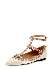 Rockstud+Patent+Caged+Ballerina+Flat,+Light+Ivory+by+Valentino+at+Neiman+Marcus.