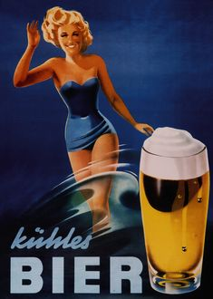 German beer ad 'Kühles Bier' from the sixties. Archives DBB.