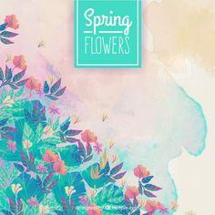 Fleurs de printemps aquarelle de fond Vecteur gratuit