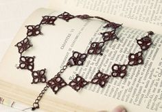 tatted jewelry sets | Handmade tatted jewelry set: necklace and earrings in dark chocolate ...