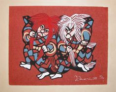 Red and White Shishi Dancers (1983) by Mori Yoshitoshi Courtesy of the Ronin Gallery (stencil print)
