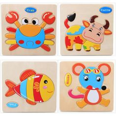3pcs Wooden Toys Puzzle Cartoon Animals Puzzle Baby Educational Toys for Children Randomly Sent