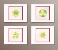 A2 Notecards Handmade Floral watercolors set of 4 by HASKINesque