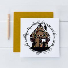 Designed in black with brightly coloured infills, this card beautifully captures the essence of the ginger bread house from the Grimm brothers fairytale, Hansel and Gretel. Square Card, Fairytale, Ginger Bread, Unique Gifts, The Outsiders, Grimm, Greeting Cards, Paper Crafts, Messages
