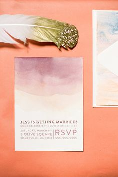Watercolor ombre invitations: http://www.stylemepretty.com/2015/05/09/the-prettiest-ombre-wedding-details/
