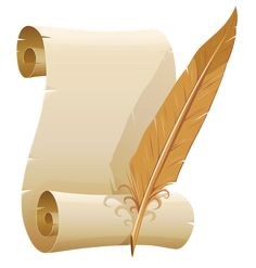 Scrolled Paper and Quill Pen PNG Clipart Image