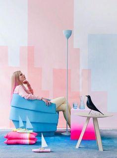 Fluo meets pastel by Floor Knaapen & Anne-Sophie Markus Black And White Interior, White Interior Design, Interior Styling, Studio Interior, Interior Office, Interior Livingroom, Classic Interior, Apartment Interior, Interior Lighting