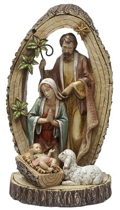 Save 10% on all Christmas Items  when you order Meditations for Advent    Apply coupon code Advent10 at checkout  (Gift items can ship to U.S. addresses only)       What better way to keep Christ in Christmas than to display this stunning wood-carved styling of the Holy Family. At just over a foot tall, this nativity scene fits with any decor, and shows the Holy Family encircled by the tree of life.