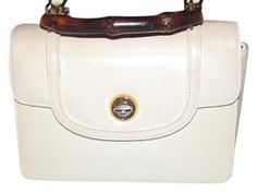 4ec78cad578 Gucci Mint Vintage Dressy Or Casual Early Style Lunchbox Style Highly  Collectible Satchel in white leather