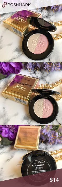 NEW  Too Faced  Candlelight Glow Highlight  NIB  Too Faced  Candlelight Glow Highlighting Powder Duo in Rosy Glow  Travel Size 2.5g  / .08 oz ☀️ I also carry TOO Faced * Urban Decay * Bobbi Brown * Tarte * Marc Jacobs * BECCA and so much more.. Too Faced Makeup Luminizer
