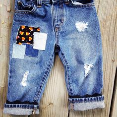 Girls Lace Halloween Distressed Jeans Candy Corn Pumpkin Cats Patchwork Denim Halloween Toddler by MountainMadeDenim on Etsy