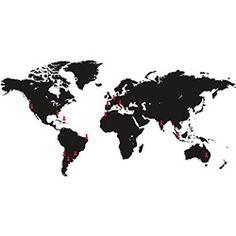 Adesivo de Parede Mapa Mundi Places Stixx Adesivos Criativos Preto/Vermelho (150x86,5cm)