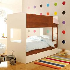 Rainbow Shared Bedroom For Kids: Here's another idea for a brother and sister bedroom. A rainbow colored room with a modern dual-tone bunk bed. Source: ASPACE Babies & Kiddos Oh My,Children's rooms & nursery Childrens Bedroom Furniture, Kids Bedroom, Bedroom Decor, Furniture Sets, Kids Rooms, Bedroom Ideas, Bedroom Colors, Wall Decor, Apartment Decoration