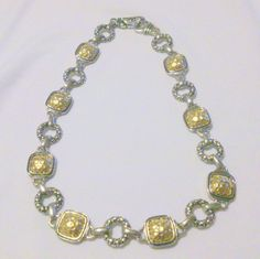 Vintage Silver Tone and Hammered Gold Tone Chunky Link Necklace by BorrowedTimes on Etsy