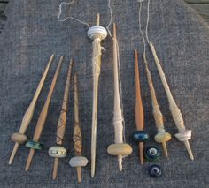 Removable Whorl Spindles, Many from my Perfectly Ordinary Medieval Spindle series.  They will spin both Top weighted and Bottom weighted.