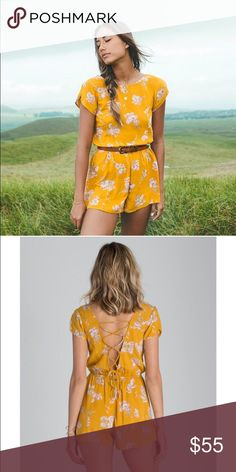 BILLABONG ROMPER I hate to let this go but it did not fit me right! ;( the yellow kinda mustard color is so pretty and vibrant and the flowers give it a girly touch. Has a gorgeous lace up detail on the back giving it a sexy-flirty touch. This is a gorgeous piece! Looks great with a belt as shown on model, or wedges and layered necklaces ✨ Billabong Other