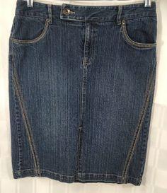 Sonoma Womens Pencil Skirt Stretch Denim Dark Wash Front Slit Stitching Size 10 #Sonoma #StraightPencil