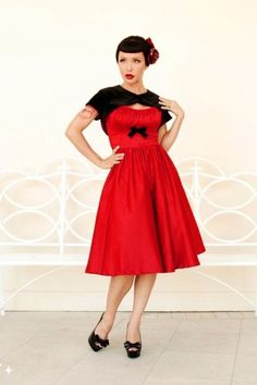 Stunning Swing in Red Satin. With removable black shrug. Party time!
