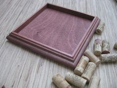 DIY Wine Cork Trivet Kit - made from reclaimed wood, cherry brown