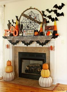Halloween Mantel Decor: Pumpkins and Spiders and Bats! Oh My! – Kay Halloween Mantel Decor: Pumpkins and Spiders and Bats! Oh My! Halloween Mantel Decor: Pumpkins and Spiders and Bats! Oh My! Spooky Halloween, Halloween Mignon, Halloween Fireplace, Scary Halloween Decorations, Halloween Home Decor, Holidays Halloween, Classy Halloween, Vintage Halloween, Halloween Costumes
