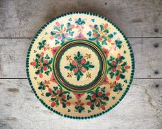 Vintage 11-3/4  Spain folk art shallow bowl hand painted green & Vintage Mexican pottery plate wall hanging Southwestern decor ...
