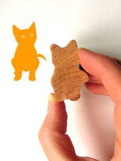 Kitten Stamp, Wooden Handled Cat Rubber Ink Stamp van ODE Handgemaakt door Jolyon Yates op DaWanda.com