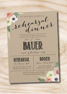 Watercolor Floral Kraft paper Rehearsal Dinner, Couples Shower, Engagement Party Invitation - Printable digital file or printed invitations