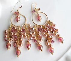 Bold Swarovski Crystal and Swarovski Pearl Gold Chandelier ...