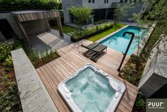 Zwembad met jacuzzi - PUUR groenprojecten Spa Jacuzzi, Tub, Villa, Outdoor Decor, Food Platters, Home Decor, Pools, Garden Ideas, Gardens