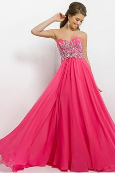 2014 Delicate Sweetheart Beaded Bodice A Line Brush Train Prom Dress