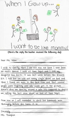 funny homework...just in case you ever need to feel better, like you're not the only mom whose kid turns in homework that makes the teacher say hmmmm.... @Tia Lor