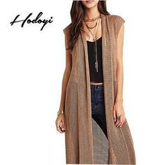 Lisipieces-Longline Knitted Hollow Out Cardigan Coat