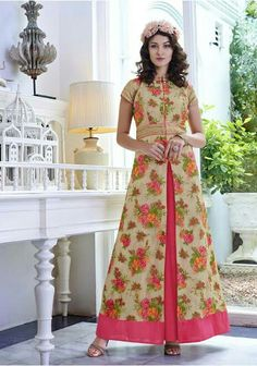 f23557d5a0b6 Beige And Pink Net Floral Embroidered Salwar Kameez. Full GownGowns OnlineDesigner  GownsCotton ...