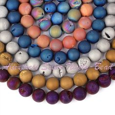 "14mm Round Metallic Coated Druzy Onyx Gem stone Beads Stones Craft Strand 15""For Necklace Bracelet Jewelry Making Free Shipping купить на AliExpress"