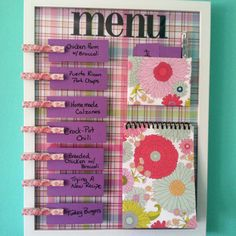 I made a weekly menu board! Found the idea on Pinterest!! :) #menu #diy