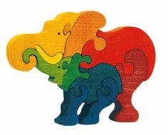 Puzzle éléphant en bois. Jouet écologique de qualité qui tient debout !