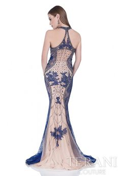 Terani Couture - 2016 Prom Dresses, Evening Dresses, Homecoming Dresses, Mother of the Bride Prom Dresses 2016, Ball Dresses, Formal Dresses, Terani Couture, Glamour, Nude Color, Lace Applique, Halter Neck, Fitted Bodice