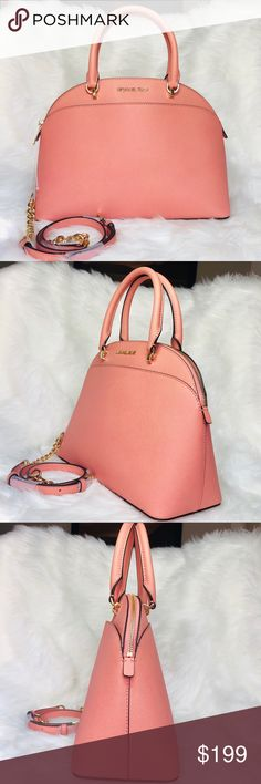 de69c49bddd6 Michael Kors Emmy Dome Large Satchel Peach Michael Kors Emmy Dome Large  Satchel Details: Color: Peach Material: Saffiano Leather Gold-Tone Hardware  ...