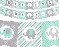 58 New Ideas Baby Shower Elefante Verde Baby Shower Unisex, Grey Baby Shower, Imprimibles Baby Shower, Baby Shower Invitaciones, Baby Shower Themes Neutral, Baby Girl Shower Themes, Baby Shower Centerpieces, Baby Shower Decorations, Decoracion Baby Shower Niña