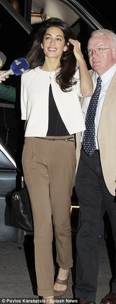 Amal Alamuddin Clooney arrives at the Hotel Grande Bretagne in Athens, Greece http://dailym.ai/1tXahZz
