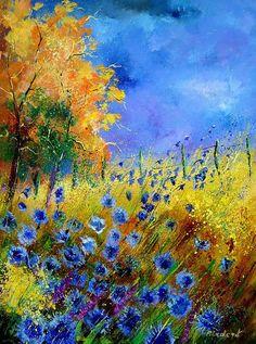 Orange Tree And Blue Cornflowers Painting - Paul Lodent