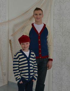 Tekstiiliteollisuus - teetee Pallas miehen ja pojan neulotut jakut ilmainen ohje