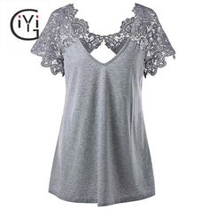 Plus Size Summer 2017 Vintage Cutwork Lace Trim Top for Women-Plus-Size-Clothing.com