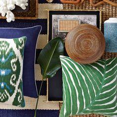Velvet Leaf Applique Pillow Cover, Green | Williams-Sonoma
