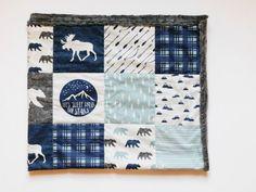 Into the Wild Quilt, Woodland theme nursery, Woodland Camping Quilt, Minky quilt, minky blanket, Baby Boy nursery, Baby quilt, Boy quilt,