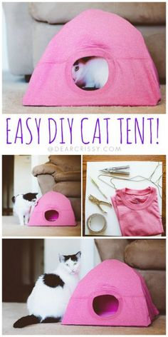 DIY Cat Tent Tutorial from Dear Crissy.This DIY Cat Tent is a cheap and easy refuge to make refuge for your cat. Take a few hangers, duct tape and a tee shirt to make your cat a tent. For more Pet DIYs (beds, bow ties, scarves, etc…) go here: truebluemeandyou.tumblr.com/tagged/pets