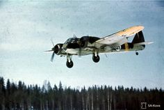 Bristol Blenheim light bomber aircraft of Finnish Air Force coming in for a landing on Luonetjärvi airfield (now Jyväskylä Airport), between 28 March 1944 and 31 March 1944. The yellow stripe at the tail of this Finnish plane was the designation for the German Eastern Front.