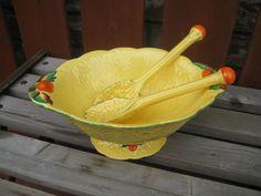 Vintage bowl 2 spoonstomato motif ceramic by DesignsByWillowcreek