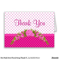 Hot Pink Dots Floral Swag Thank You Notecard Stationery Note Card